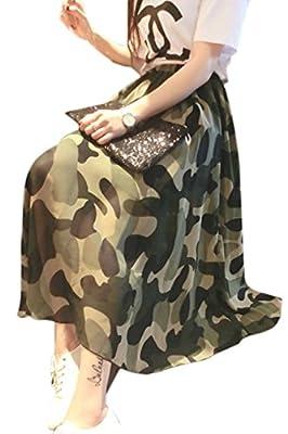 Zojuyozio Women Summer Casual Camo Chiffon Swing Flare Elastic Waist Patchwork Maxi Skirt