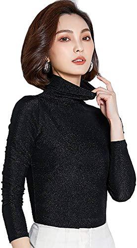 Ababalaya Women's Retro Basic Turtleneck Glitter Long Sleeve Slim Fit Blouse Top,Black,Tag L = US Size 0