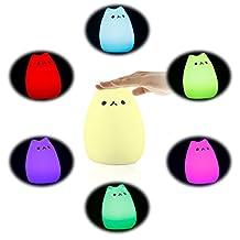 ICOCO LED Cat Light Multicolor Soft Silicone Cartoon Animal Lamp Portable Cute Mushroom Rechragebale Gift Cat Lamp For Children 7 Colors Breathing Models (Popular Cat)