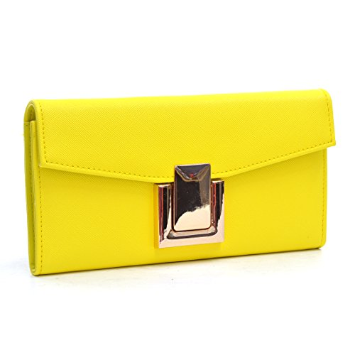 Dasein Leather Fashion Gold-Tone Simple Clutch Wallet - Bright Yellow
