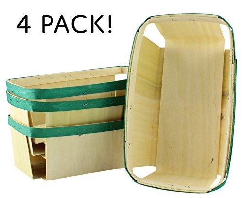 2-Quart Wooden Fruit Baskets w/ Green Band (4-Pack); Long Vegetable Farm Market Baskets for Food Storage & Decorating