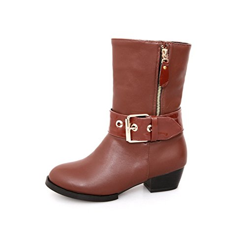 Toe with Heels B PU Square Round AmoonyFashion Solid Womens Boots 8 Plush Heels Short US M Low Closed Brown 5 wTRntnBqP