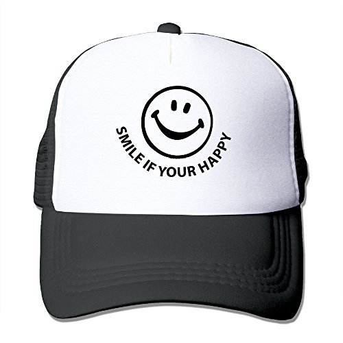 Face Happy Cap (NONGFU Smiley If Your Happy Smile Face Big Foam Trucker Baseball Cap Mesh Back Adjustable Cap)