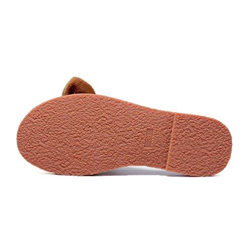 Casual 43 avec Marron à L'usure Bowknot Plates Été Chaussons 35 Sandale Plage Gentil Femmes Confort Un Résistant Sandales UaxEqptwx
