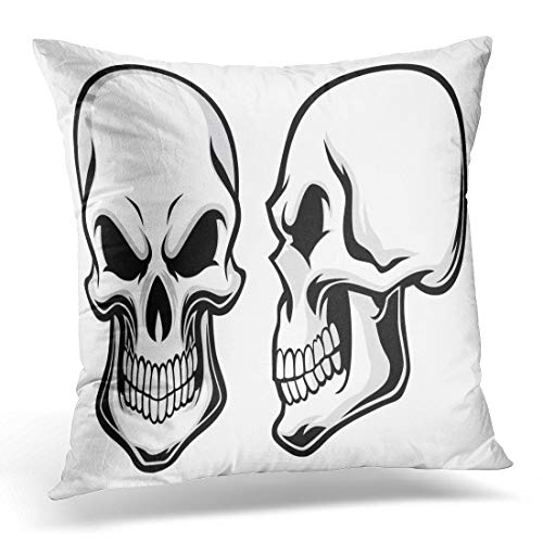 Emvency Throw Pillow Cover Skeleton Black Side Cartoon Skulls View Halloween Head Human Decorative Pillow Case Home Decor Square 18