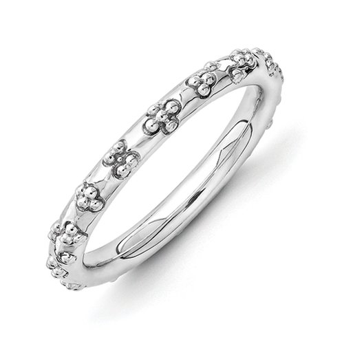 Sterling Silver Stackable Expressions Rhodium Plated Textured Ring - Size 5 from Stackable Expressions