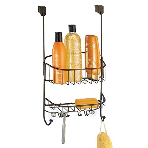 mDesign Modern Metal Wire Over The Bathroom Shower Door Caddy, Hanging Storage Organizer Center with Built-in Hooks and Baskets for Stall/Tub, Holds Shampoo, Body Wash, Loofahs, Razors - Bronze (Shower Caddy Bronze Over The Door)