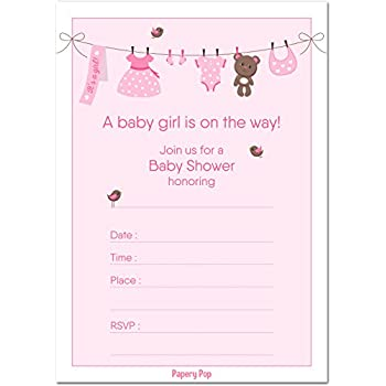 Amazon 30 baby shower invitations girl with envelopes 30 pack 30 baby shower invitations girl with envelopes 30 pack baby girl shower invite stopboris Gallery