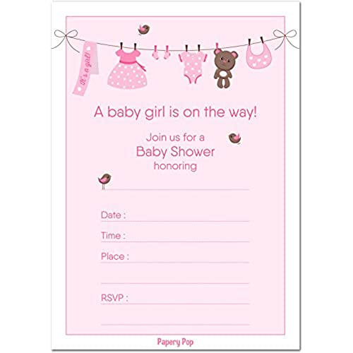 Baby shower invitations amazon 30 baby shower invitations girl with envelopes 30 pack baby girl shower invite cards fits perfectly with pink baby shower decorations and supplies for filmwisefo