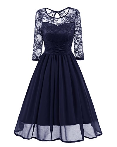 MILEEO Kleider Damen Elegant Cocktailkleid Spitzen 3 4 Arm Vintage Kleid  Brautjungfer 50er Jahr Abendkleid 3d94cacfee