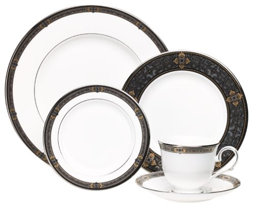 Lenox Vintage Jewel Platinum-Banded Bone China 20-Piece Dinnerware Set, Service for - Platinum Jewel