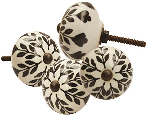Cyber Monday Deals - Set of 4 Ceramic Door Knobs, Black and White Floral Hand Painted Ceramic Pumpkin Cupboard Wardrobe Cabinet Drawer Door Handles Pulls Knob