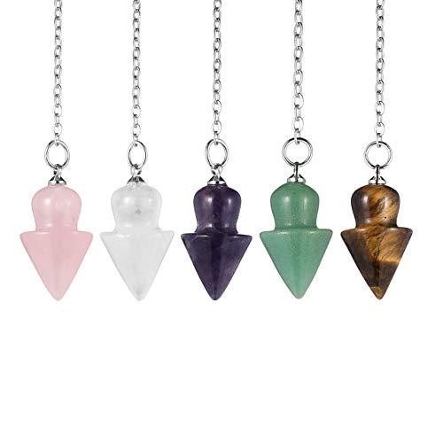 PESOENTH 5pc Amethyst/Rose Quartz/Green Aventurine/Tiger Eye Stone/Clear Crystal Pendulums Natural Gemstone Cone Healing Pointed Reiki Chakra Pendant Pendulums for Divination Dowsing Balancing