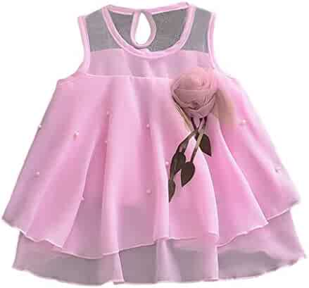 Toddler Girls Pink Lace Princess Gown Birthday Party Wedding Dress by Vinjeely