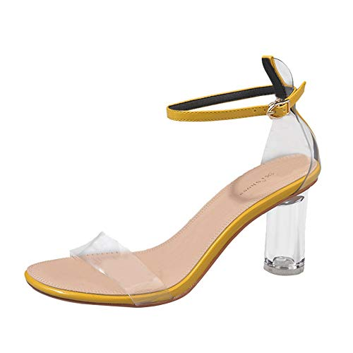 vermers Women Sandals - Fashion Transparent Ankle High Heels Block Party Open Toe Shoes(US:5, Yellow) ()