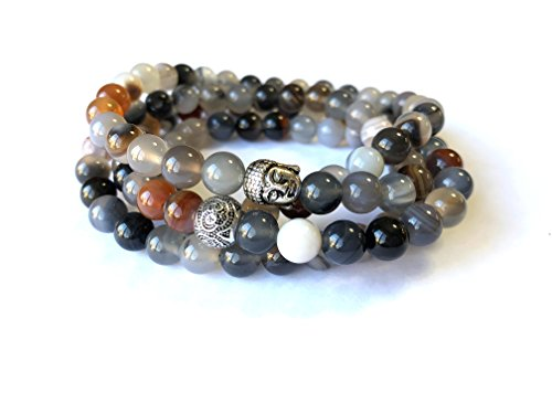 Agar Creations - 108 Bead Botswana Agate 8mm Mala - Buddha Prayer Beads - Yoga Meditation Mala Bracelet Necklace - Comfort ()