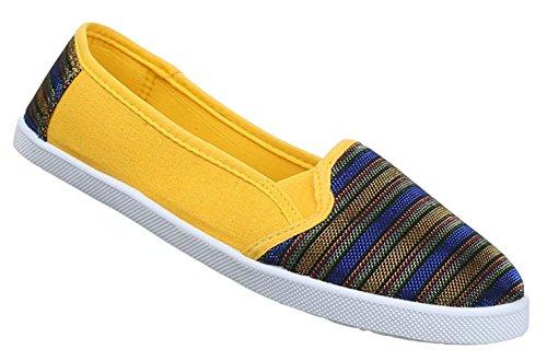 Damen Halbschuhe Lace up Schuhe Slipper Schwarz Grau Gelb 36 37 38 39 40 41 Gelb