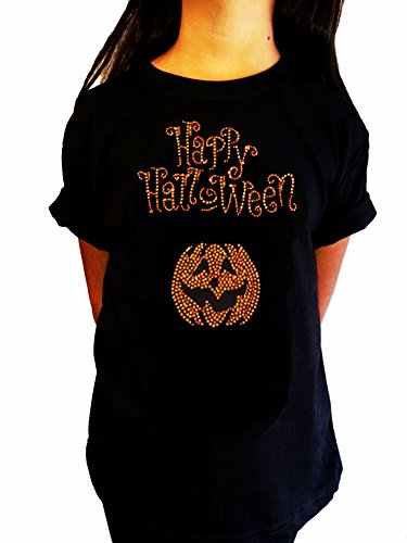 [Girl's Fashion T-shirt with Happy Halloween and Pumpkin in Rhinestones (Large (9-11))] (Girls Halloween Shirts)
