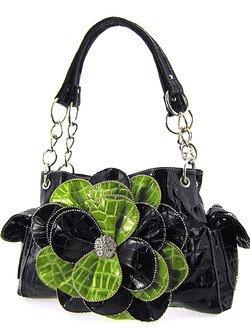 Stunning! 3d Raised Flower Croc Satchel Purse Laminated Croco Faux Crocodile Black/Green, Bags Central