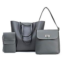 3 Pcs Set Women Handbags Composite Bag For Women Messenger Bags Female Shoulder Bags Light Gray 34x30x12cm