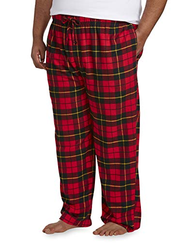 (Amazon Essentials Men's Big & Tall Flannel Pajama Pant fit by DXL, Red Plaid, 6X)