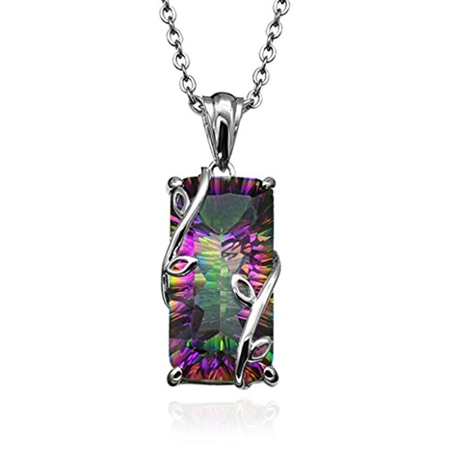 ManxiVoo Women Necklace Square Rainbow Tourmaline Crystal Pendant Necklace Chain Elegant Jewelry ()