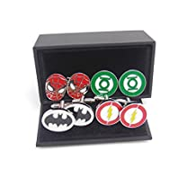 Masalong US Superhero retro Cuff Links mens Spider Green Lantern Bat Flash man 4 Pairs of sets cufflinks