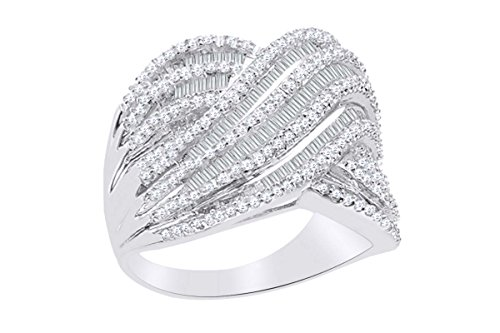 Solitaire Diamond Baguette Ring - 14k White Gold Over Sterling Silver Round & Baguette Diamond Band (1/2 cttw, IJ Color, I2-I3 Clarity) Ring Size:9