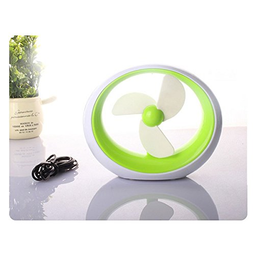 Fashion Round Simple USB Mini Fan Potable Battery Desktop Creative Colorful Fan With Three Leaves Cute Electric Fan (Green) (Small Fan Colorful compare prices)
