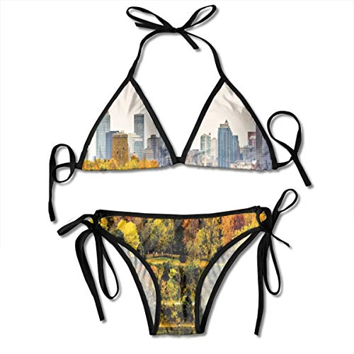 Women's Bikini Set,Montreal Downtown Skyscrapers Autumn Various Trees Colorful Forest Urban Life Nature,Two Pieces Swimsuit