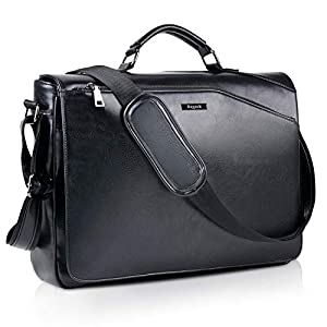 Bageek Umhängetasche Herren Taschen Messenger Bag 15.6'' Laptoptasche Schultertasche Aktentasche PU Leder Herren Taschen Kunstleder Umhängetasche, Schwarz