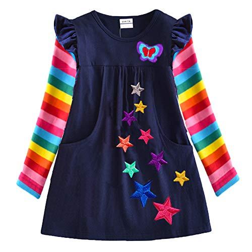 VIKITA Girls Cotton Flower Long Sleeve Casual Dress LH5808M 2-3 ()