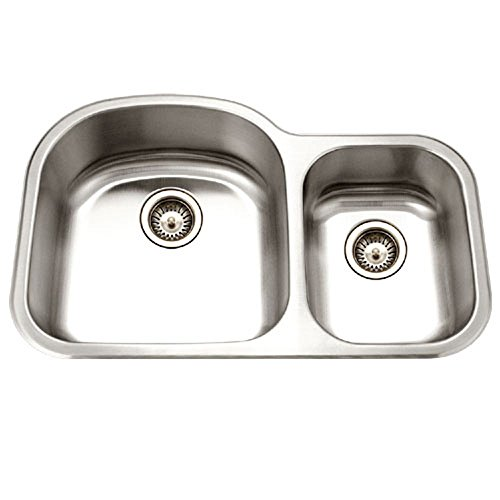 Houzer MC-3210SR-1 Medallion Designer Series Undermount Stainless Steel 70/30 Double Bowl Kitchen Sink, Small Bowl Right