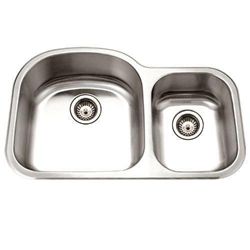 Houzer MC-3210SR-1 Medallion Designer Series Undermount Stainless Steel 70/30 Double Bowl Kitchen Sink, Small Bowl Right - Bowl Stainless Steel Right