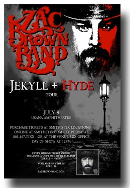 Zac Brown Band Poster - Concert 11 X 17 Jekyll + Hyde Tour 2015