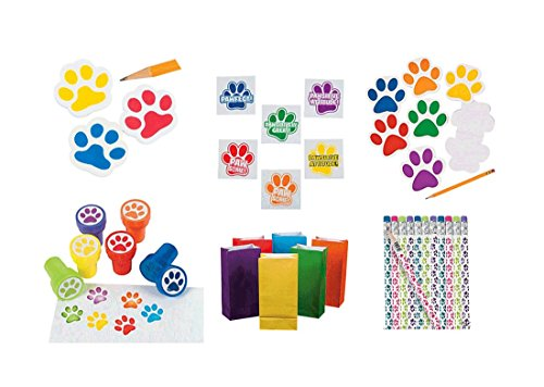 THE UM24 204 Pieces Paw Print Birthday Party Favor Bundle Pack Animal Lover 12 Wooden Paw Print Pencils, 12 Stampers, 144 Motivational Tattoos, 12 Notepads, 12 Erasers, 12 Paper Bright Color Bags