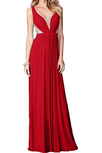 Damen Linie Promkleid Ausschnitt Abendkleid V Liebling Tuell A amp;Chiffon Rot Festkleid Ivydressing Steine Partykleid 1WBgng