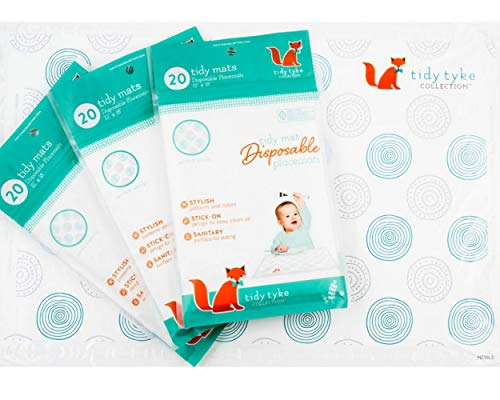 Extra Sticky Disposable Placemats Baby - Bulk Pack - Ultimate Mom Hack - Tidy Tyke - Table Mat Stays in Place! BPA Free Plastic, Stick on Placemat - Keeps Toddlers Neat & Safe at Restaurants! -