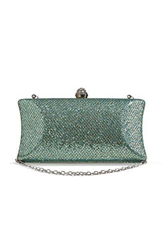 Bronze Evening Purse (Women Sparkly Clutch Purse Hard Case Evening Bag Sequined Handbag With Chain Strap (apple green))