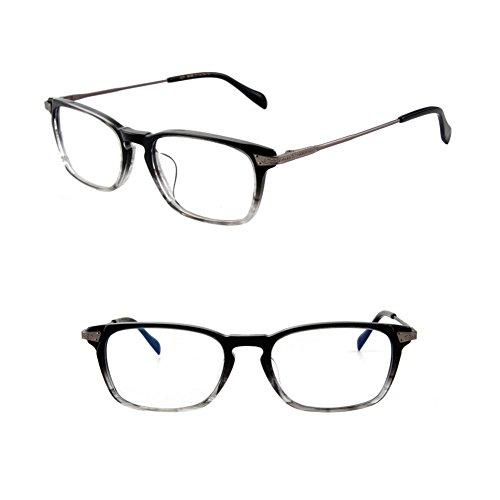 HUFU Vintage Round Oval Circle Prescription Eyewear Eyeglasses Frame with Clear Lenses (black whte, - Plano Eyeglasses