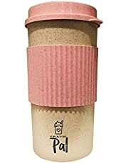 Travel PAL - Eco Friendly Reusable Travel Coffee Cup - 16oz | Takeaway Bamboo Mug with Lid | Plastic & BPA Free | Eco Cup | Organic Bamboo Fibre | Pink