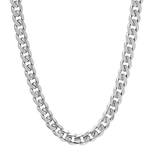 Verona Jewelers Italian 925 Solid Sterling Silver Mens Necklace,7.5MM 8MM 11MM 15MM Curb Cuban Chain Necklace for Men- Solid Heavy Link, Thick Link Chain Necklace, 20, 22, 24, 30, (22, 8MM)