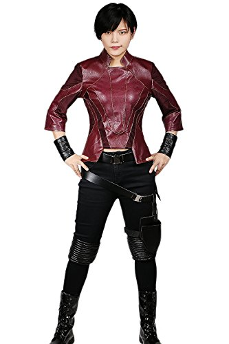 Gamora Adult Womens Costumes (Gamora Costume Deluxe Red Black PU Cosplay Women's Outfit L)