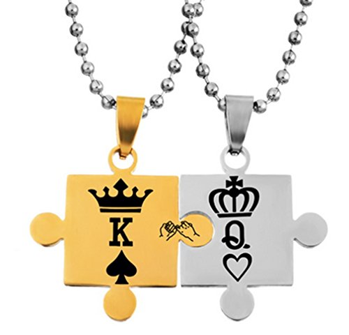 One Pair Unisex Souvenir Her King & His Queen Couple Jigsaw Pattern Stainless Steel Titanium Necklace with Black Box Tag Pendant Necklace with Stone for Gift (Metallic Gold & - Jigsaw Pattern