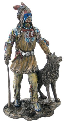Native American Plains Indian w/ Wolf and Rifle Statue (Native American Indian Statue)