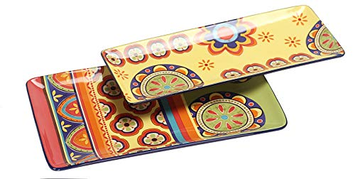 Bico Tunisian Ceramic 14 inches Rectangular Serving Platter, Set of 2, for Serving Salad, Pasta, Cheese, Ham, Appetizer, Microwave & Dishwasher Safe, House Warming Birthday Anniversary Gift
