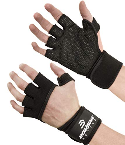 New Ventilated Workout Gloves with Integrated Wrist Wraps, 5 Colors, Full Palm Silicone Padding, Extra Grip, no Calluses. Perfect for Weightlifting, Gym Fitness, Cross Training, WODs. For Men & Women