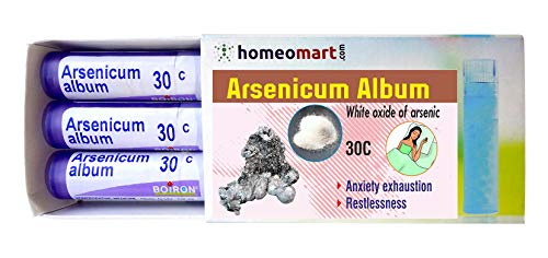 Homeopathy Arsenicum Album 30C Pills for Anxiety, Exhaustion, restlessness. Pack of 3,Sealed Boiron 4g Tubes