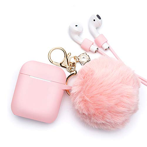 Airpods Case - BlUEWIND Drop Proof Air Pods Protective Case Cover Silicone Skin for Apple Airpods 2 & 1 Charging Case, Cute Fur Ball Airpod Keychain/Strap, Pink