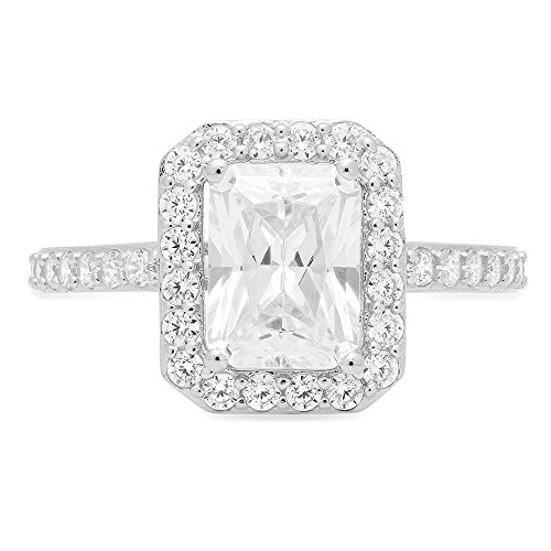 2.17ct Brilliant Emerald Round Cut Halo Solitaire Statement Simulated Diamond Petite Ring in Solid 14k White Gold for Women, 9.25 by Clara Pucci (Image #2)